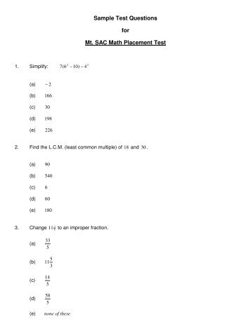 SAMPLE MATH PLACEMENT TEST B