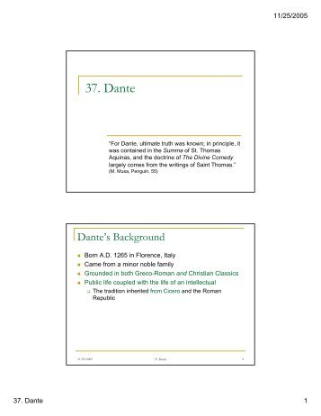 37. Dante - Department of Humanities, Classics, and Comparative ...