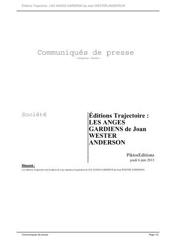 LES ANGES GARDIENS de Joan WESTER ANDERSON