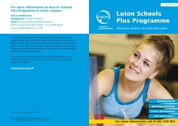 Luton Schools Plus Programme - Nacro
