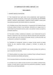 Regulamento do Campeonato de Futebol Unificado - Unafisco