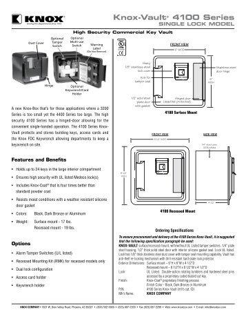 4100 Series Single Lock Spec Sheet - Knox Box