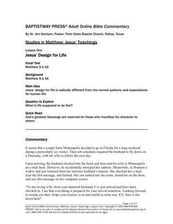 Jesus' Teachings Jesus' Design for Life - BaptistWay Press