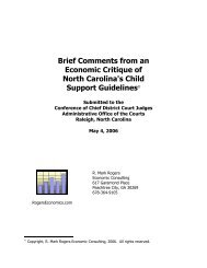 An economics summary of North Carolina's child support guidelines