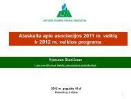 Ataskaita apie asociacijos 2011 m. veiklą ir 2012 m. veiklos programa