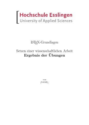 LATEX-Grundlagen Setzen einer wissenschaftlichen Arbeit ...