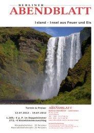 Island - Insel aus Feuer und Eis - Leserreisen - Berliner Abendblatt