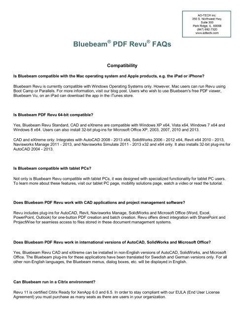 Bluebeam PDF Revu FAQs - Ad-Tech Inc