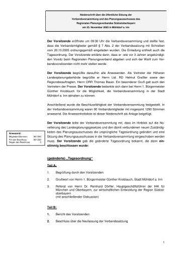 Niederschrift - Regionaler Planungsverband Südostoberbayern