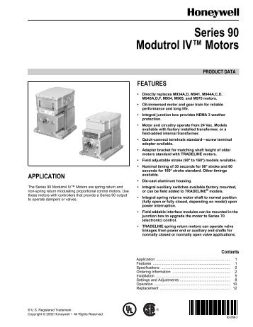 Tech sheet for m71 m72 and m76 series modutrol iv motors 63 2190 series 90 modutrol iv motors honeywell cheapraybanclubmaster Images