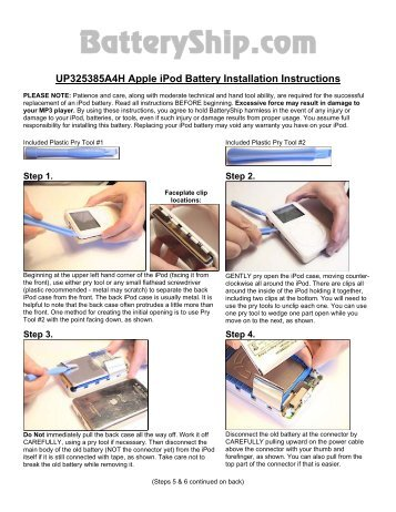 616 0229 Apple Ipod Video Battery Installation Instructions Batteries