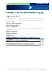 Checkliste Landwirtschaft/Erzeugung - Eichenhof
