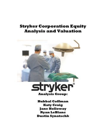 Stryker Corporation Equity Analysis and Valuation