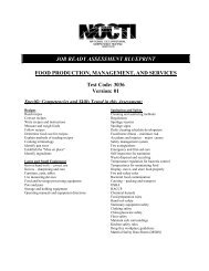 FOOD PRODUCTION, MANAGEMENT, AND SERVICES Test ... - nocti