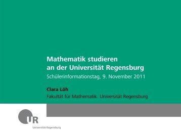 Mathematik studieren an der Universität Regensburg