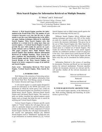Meta Search Engines for Information Retrieval on ... - Ijcns.com