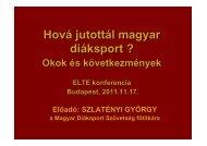 Szlatényi György - Hová jutottál magyar diáksport? (Okok és ...