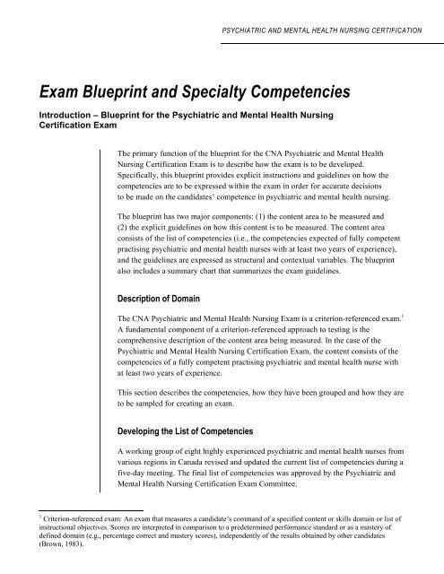 Exam Blueprint And Specialty Competencies Nurseone