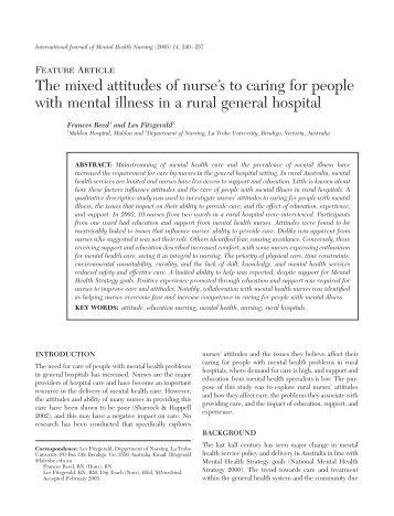 The mixed attitudes of nurse's to caring for people with ... - NurseONE