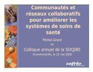 Communautés et réseaux collaboratifs pour améliorer les ... - SoQibs