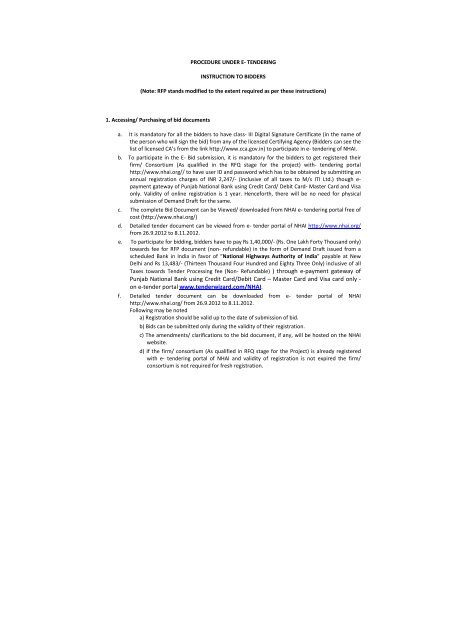 e-tendering process-RFP - National Highways Authority of India