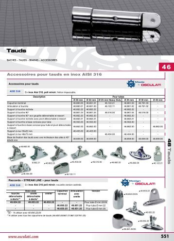 Catalogue Osculati 2008 tauds, capotes, supports moteurs