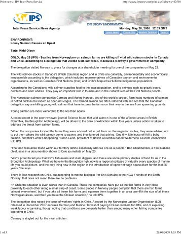 Print news - IPS Inter Press Service - Watershed Watch Salmon ...