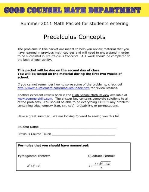 Precalculus Concepts