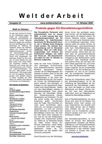 WdA Oktober 2005 - Welt der Arbeit