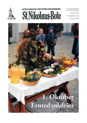 1. Oktober Erntedankfeier 1. Oktober Erntedankfeier - Stammersdorf