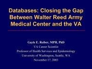 Databases: Closing the Gap Between Walter Reed Army Medical ...