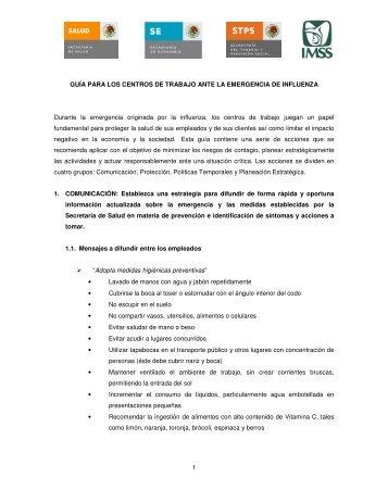 Guía para los centros de trabajo ante la emergencia de Influenza