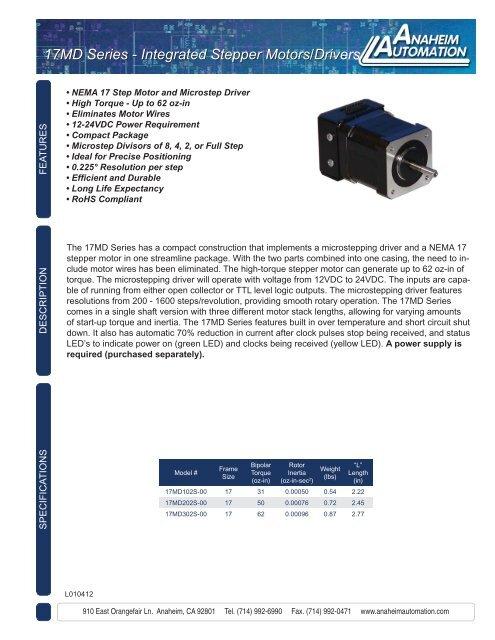17MD Series Stepper Motor/ Driver Hybrid (Spec Sheet