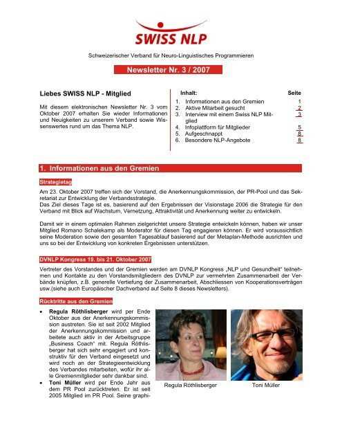 Newsletter Nr. 3 / 2007 - SWISS NLP
