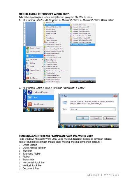 berikut ini langkah langkah untuk membuka program microsoft word 2007 adalah