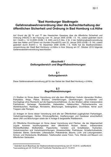 Bad Homburger Stadtregeln Gefahrenabwehrverordnung über die ...