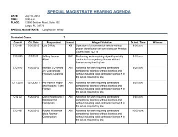special magistrate hearing agenda - Pinellas County Construction .