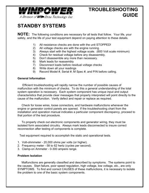 troubleshooting guide standby systems note - Winco Generators