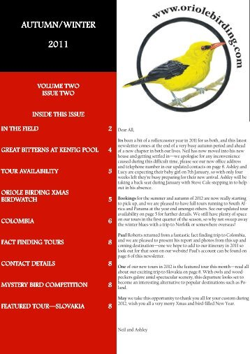 Oriole Birding Newsletter Autumn-Winter 2011
