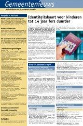 Identiteitskaart voor kinderen tot 14 jaar fors duurder - Gemeente ...