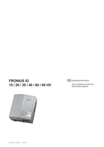 fronius ig tl 3 0 3 6 4 0 4 6 5 0. Black Bedroom Furniture Sets. Home Design Ideas
