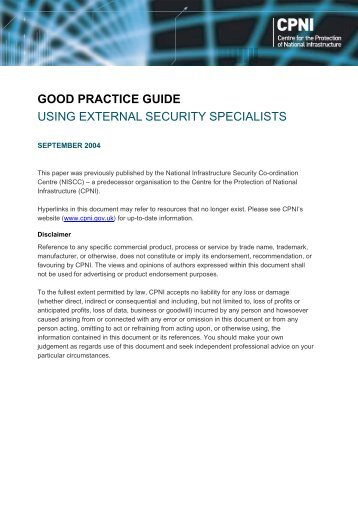 Using external security specialists - a good practice guide - CPNI