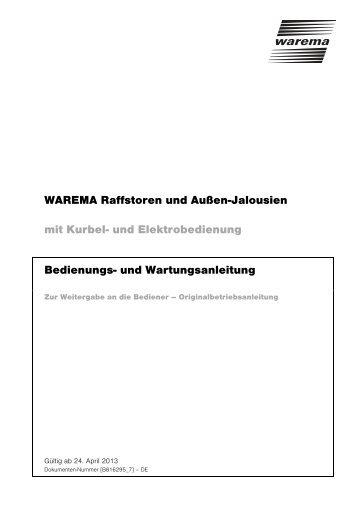 WAREMA Raffstoren und Außen-Jalousien mit Kurbel- und ...