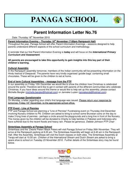 PANAGA SCHOOL Parent Information Letter No 76