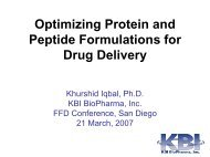 Optimizing Protein and Peptide Formulations for Drug Delivery - IIR