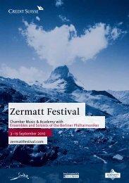 September  Chamber Music & Academy ... - Zermatt Festival