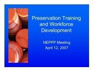 Preservation Training and Workforce Development