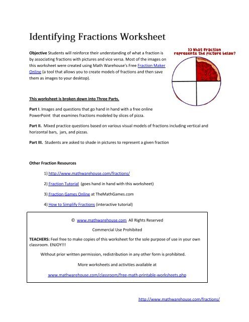 graphic about Simplifying Fractions Game Printable identified as This worksheet is damaged down into A few Components - Math Warehouse