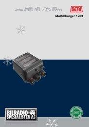 DEFA MultiCharger 1203 Bruks-/Monteringsanvisning