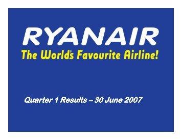 Quarter 1 Results Quarter 1 Results - Ryanair